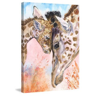 Marmont Hill - 'Giraffes Family 2' by George Dyachenko Painting Print on Wrapped Canvas