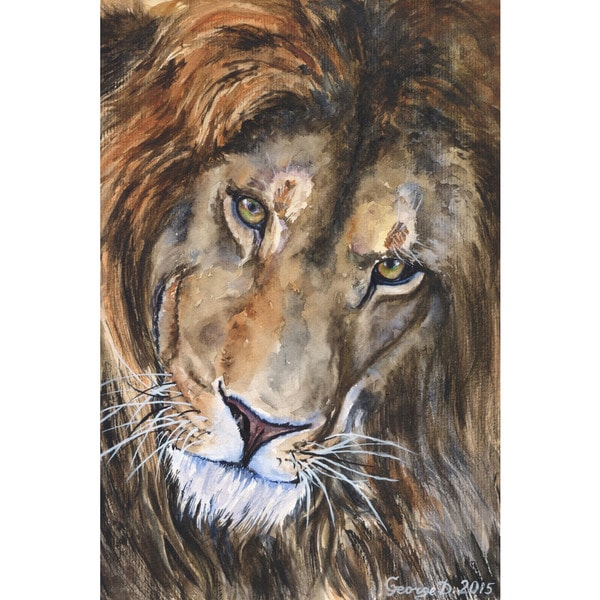 Marmont Hill - 'Lion' by George Dyachenko Painting Print on Wrapped Canvas