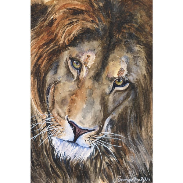 Marmont Hill - 'Lion' by George Dyachenko Painting Print on Wrapped Canvas - Multi-color