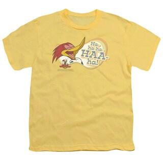Woody Woodpecker/Famous Laugh Short Sleeve Youth 18/1 in Banana