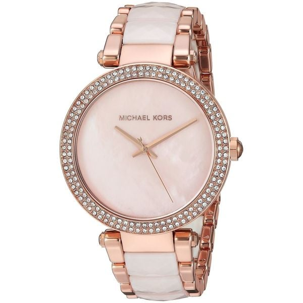 d88baf2c5cdf Shop Michael Kors Women s  Parker  Crystal Two-Tone Stainless steel and Acetate  Watch - On Sale - Free Shipping Today - Overstock - 12804080