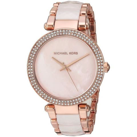 Michael Kors Women's MK6402 'Parker' Crystal Two-Tone Stainless steel and Acetate Watch