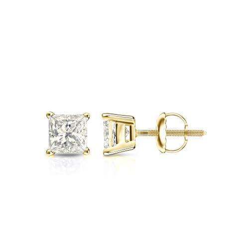 Auriya 1/2ctw Princess cut Diamond Solitaire Stud Earrings 14k Gold