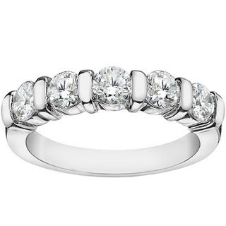14k/18k White Gold 1ct TDW 5-Stone Princess-cut Braided Prong Anniversary Wedding Ring (G-H, SI1-SI2)