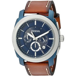 Fossil Men's FS5232 'Machine' Chronograph Brown Leather Watch