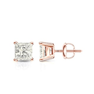 Auriya 14k Gold 1ct TDW 4-Prong Basket Screw-Back Princess-Cut Diamond Stud Earrings (J-K, I2-I3)