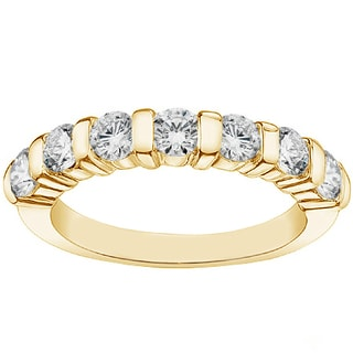 14k/18k Yellow Gold 1 1/7ct TDW Channel Bar 7-stone Diamond Wedding Ring