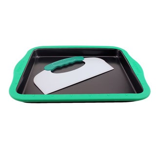 BergHOFF Black Carbon Steel Full Cookie Sheet With Silicone Sleeve and PerfectSlice Tool