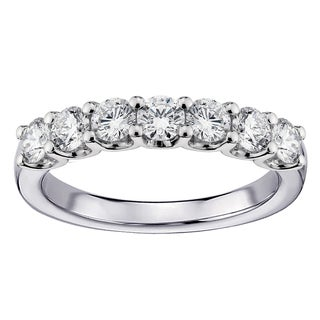14k/18k White Gold 1ct TDW U-prong Diamond Anniversary Wedding Ring (G-H, SI1-SI2)