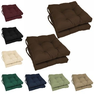 Blazing Needles 16-inch Square Twill Dining Chair Cushions (Set of 4) in Natural (As Is Item)
