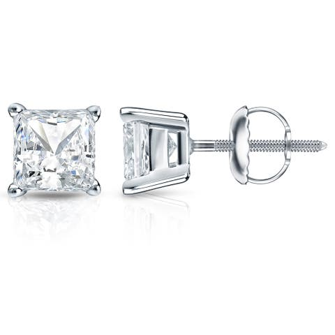 Auriya 2ctw Princess-cut Solitaire Diamond Stud Earrings 14k Gold