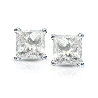 Auriya 14k Gold 2ct TDW 4-Prong Basket Screw-Back Princess-Cut Diamond Stud Earrings (J-K, I2-I3)