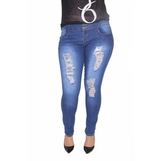 Juniors' Plus Blue Cotton and Spandex Stretch Buttlifter Skinny Jeans with Rips and Back Pockets