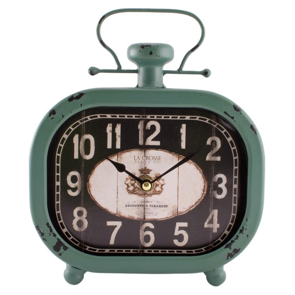 La Crosse Teal Metal 10-inch Distressed Decorative Clock