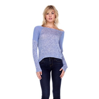 Stanzino Women's Blue Rayon/Polyester Knit Sweater