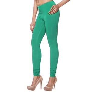 Handmade In-Sattva Women's Solid Peacock Green Leggings (India)