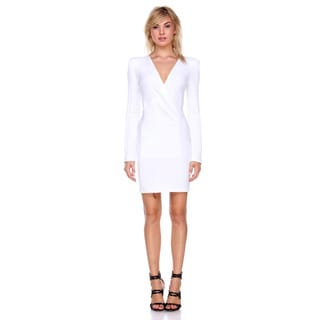 Stanzino Women's White Polyester and Spandex Bodycon Long-sleeve Dress