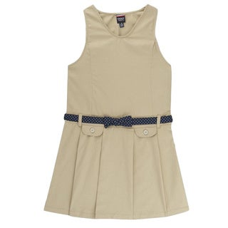 French Toast Girl's Blue/Khaki Polyester Bow Belt Jumper