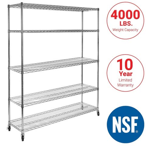 Seville Classics 60 in W x 18 in D x 72 in H UltraDurable Commercial-Grade 5-Tier Steel Wire Shelving with Wheels