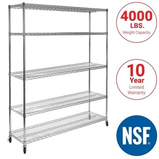 Seville Classics Silver UltraZinc Steel 5-shelf 18-inch x 60-inch x 72-inch Wire Shelving System