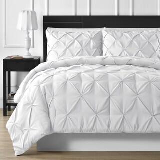 Elegant Durable Stitching 3 piece White Pinch Pleated Comforter