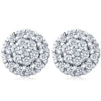 14k White Gold 1ct TDW Pave Fire Halo Diamond Studs
