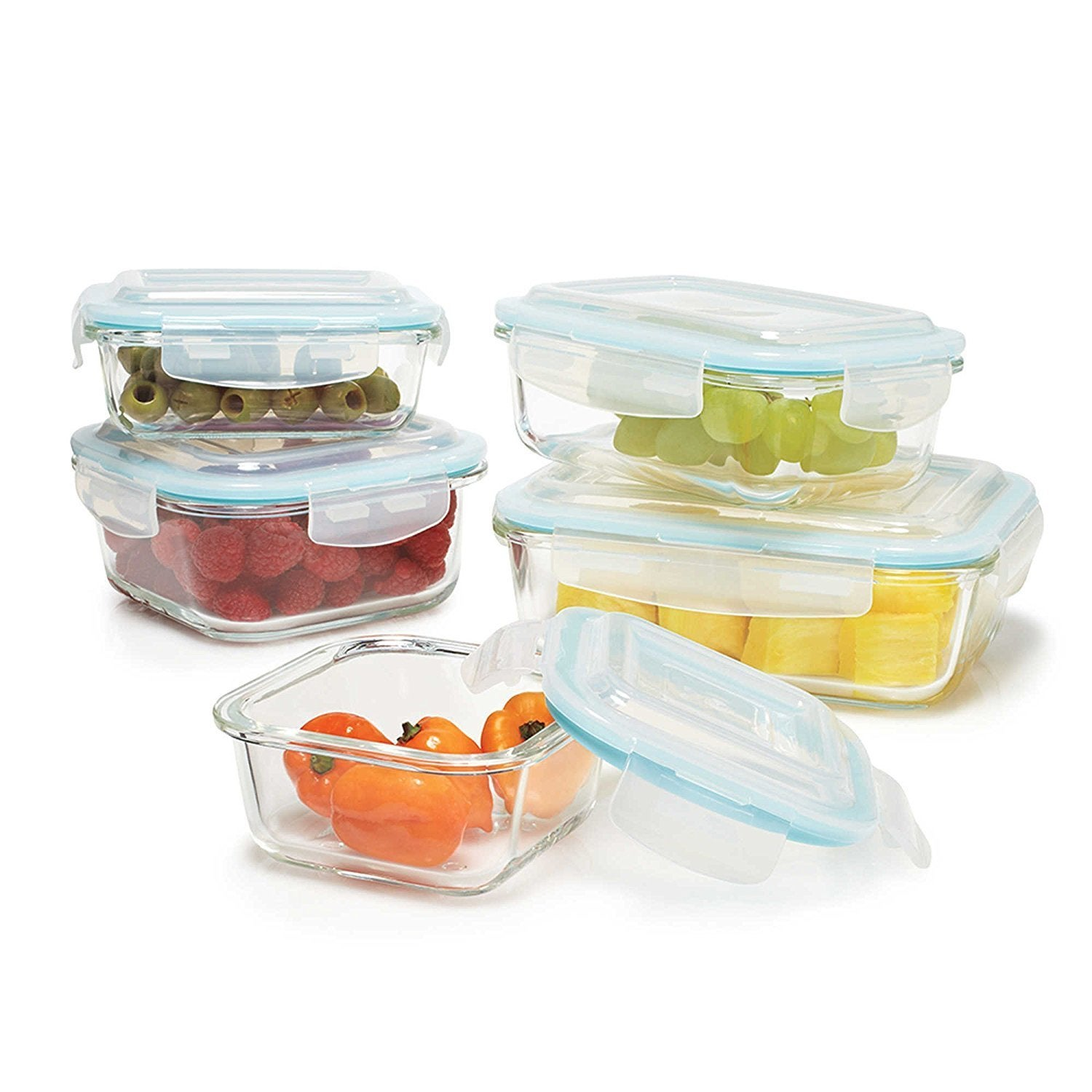 Clear Glass Food Storage Container 10-piece Set with Lock...