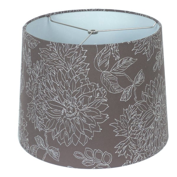 Embroidered Grey Linen Hardback Empire Lamp Shade