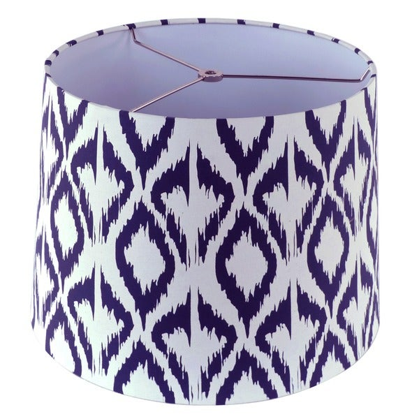 White and Blue Fabric Hardback Empire Lamp Shade