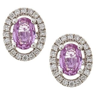 Anika and August 14k White Gold Pink Sapphire and 1/4ct TDW Diamond Earrings (G-H, I1-I2)