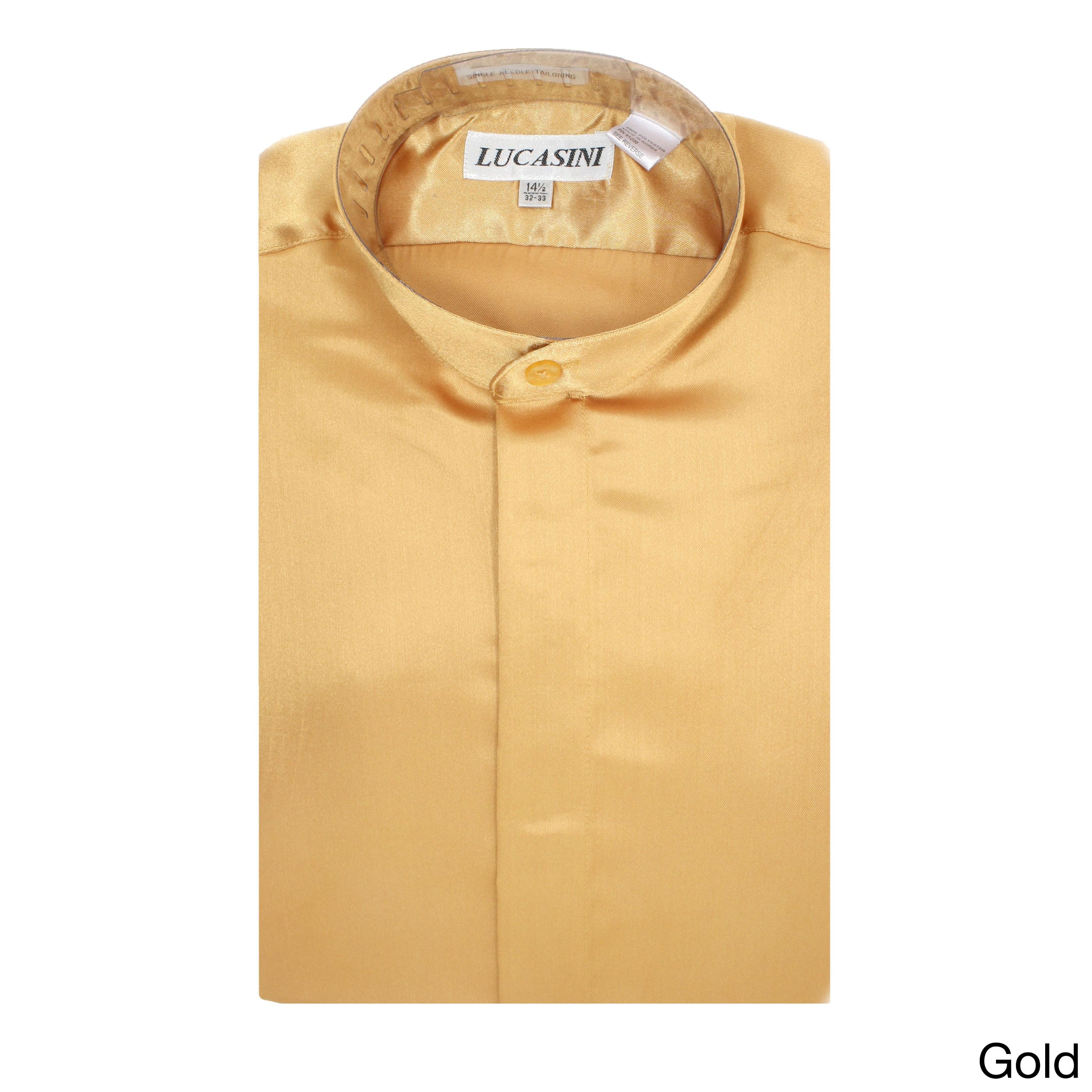 Ferrecci Men's Satine Mandarin Banded-collar Dress Shirt ...