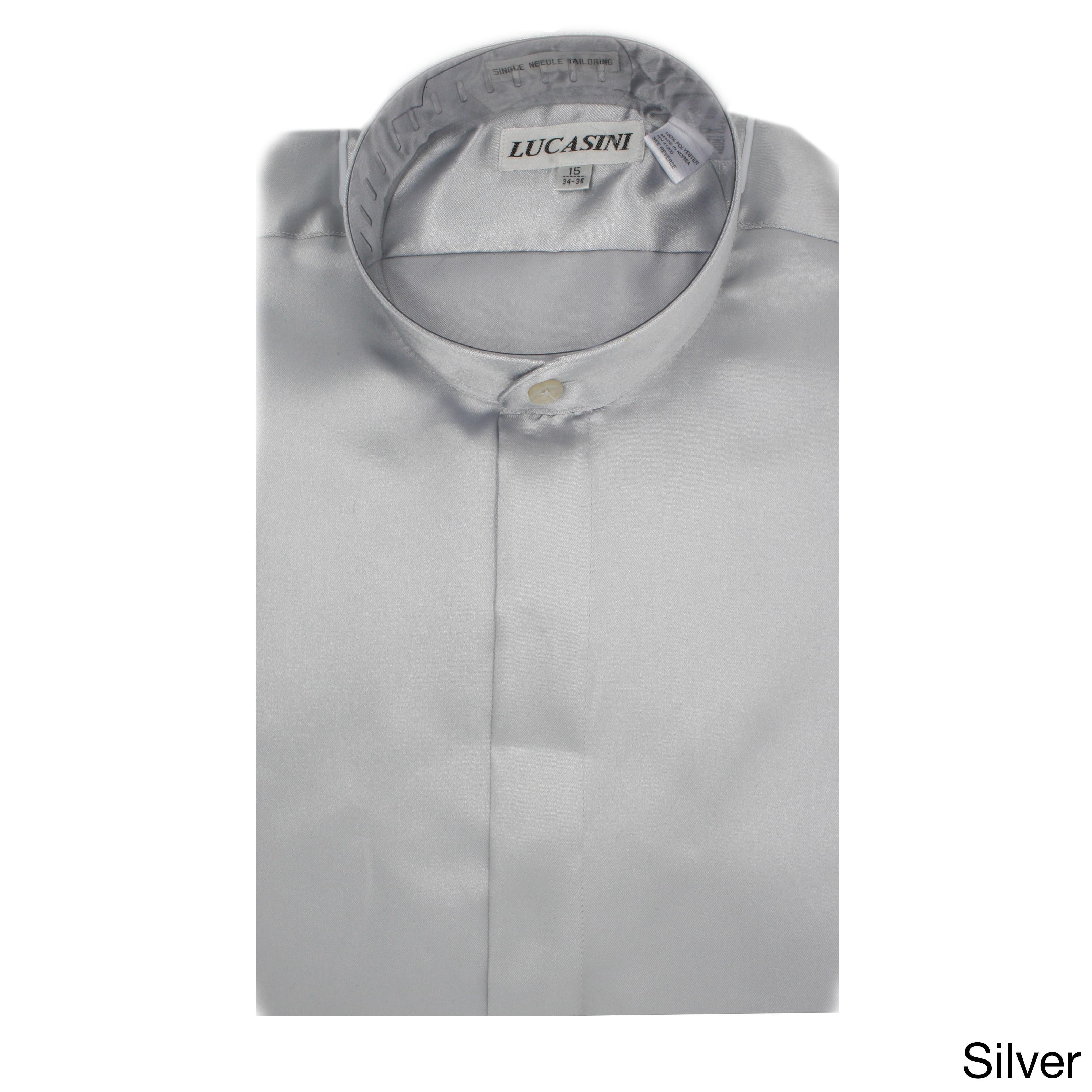 Sizes XS 5XL. Men/'s Black Banded Collar Dress Shirt NWT