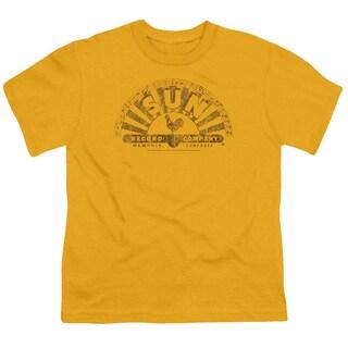 Sun/Worn Logo Short Sleeve Youth 18/1 in Gold