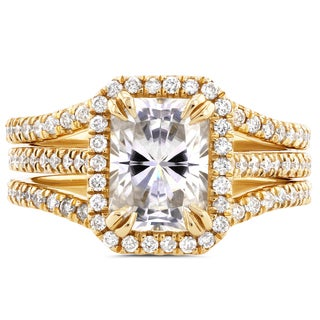Annello 14k Yellow Gold Radiant Cut Moissanite and 3/5ct TDW Halo Diamond 3-Piece Bridal Rings Set (G-H, I1-I2)