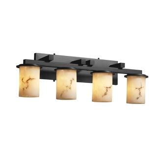 Justice Design Group LumenAria Dakota 4-light Dark Bronze Bath Bar, Faux Alabaster Cylinder - Flat Rim Shade