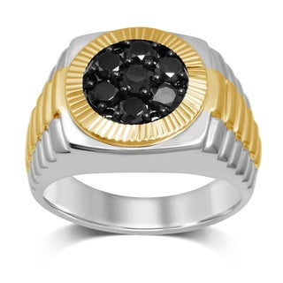 10K Yellow Gold Plated Men's 1-1/4ct TDW Black Diamond Watch Band Ring