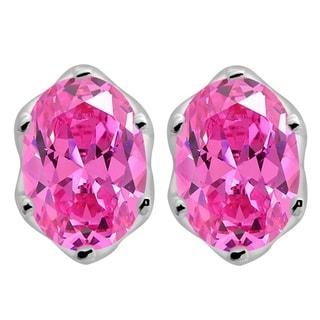 Orchid Jewelry Oval Cut Cubic Zirconia 925 Sterling Silver Stud Earrings