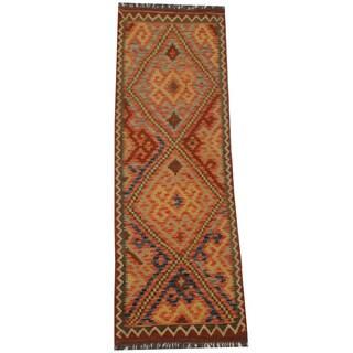 Herat Oriental Afghan Hand-woven Tribal Wool Kilim Runner (2'2 x 6'10)