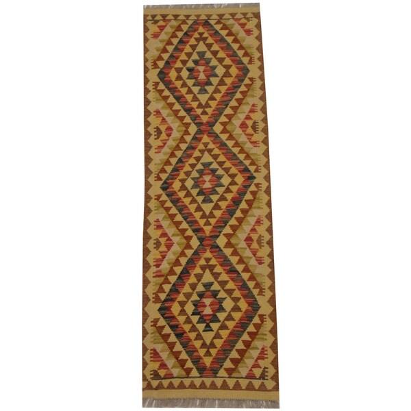 Herat Oriental Afghan Hand-woven Tribal Wool Kilim (2' x 6'4) - 2' x 6'4