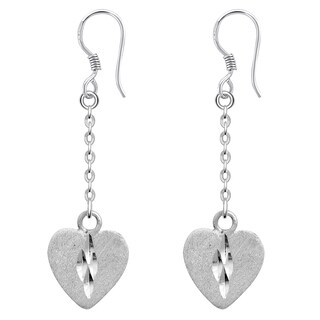 Orchid Jewelry Valentine Collection 925 Sterling Silver Heart Dangle Earrings