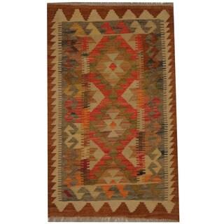 Herat Oriental Afghan Hand-woven Tribal Wool Kilim (1'10 x 3'1)