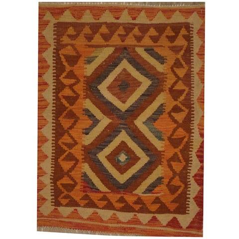 Handmade One-of-a-Kind Wool Kilim (Afghanistan) - 2' x 2'9