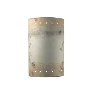 Justice Design Group Ambiance Greco Travertine Outdoor Large Cylinder with Perfs Wall Sconce