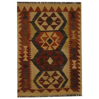 Herat Oriental Afghan Hand-woven Tribal Kilim (1'10 x 2'7)