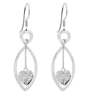 Orchid Jewelry 925 Sterling Silver Heart Dangle Earrings