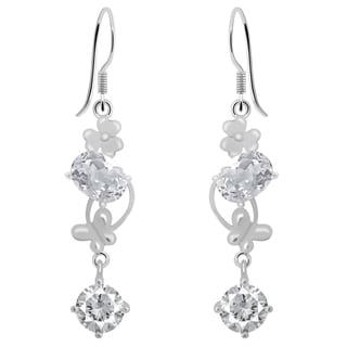 Orchid Jewelry Cubic Zirconia 925 Sterling Silver Earrings