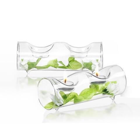 JoyJolt Ambient Clear Glass Tea Lights Candle Holders (Set of 2)