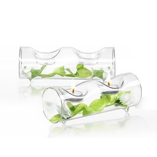 JoyJolt Ambient Clear Glass Tea Lights Candle Holders (Set of 2)