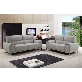 Betta Grey Top Grain Leather 2-Piece Sofa and Loveseat Set