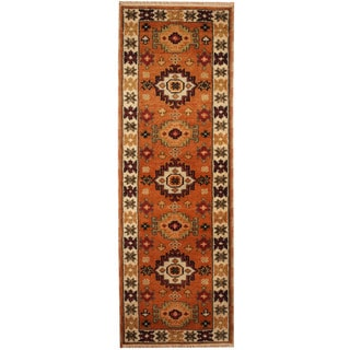 Herat Oriental Indo Hand-knotted Tribal Kazak Wool Runner (2'2 x 6'4)